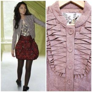 Anthro Tabitha Ruffle Wool Blend Blazer Sz 6
